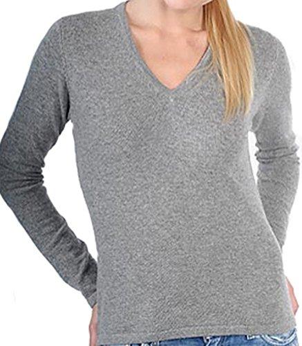 Balldiri 100% Cashmere Kaschmir Damen Pullover 2-fädig V-Ausschnitt grau S