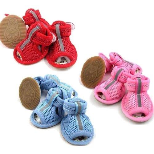 Cute Dog Shoes Pets Sandals Colored Comfortable Fit - Size 1-Color pink