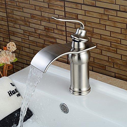 Beelee BL0602N Nickel Brushed Waterfall Bathroom Sink Faucet