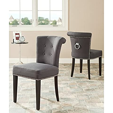 Safavieh Mercer Collection Carol Charcoal Linen Ring Dining Chair (Set of 2) - Upholstery Living Room Furniture