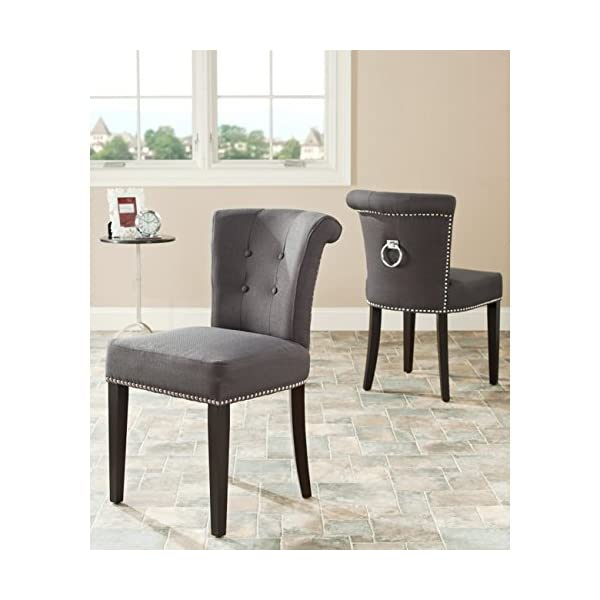 Safavieh Mercer Collection Carol Charcoal Linen Ring Dining Chair (Set of 2)