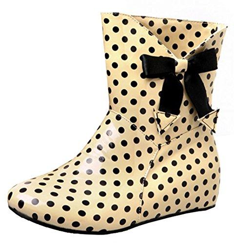 Idifu Mujeres Sweet Polka Dots Low Hidden Heels Botines De Lluvia De Goma Altos Short Wellies Con Bow Beige
