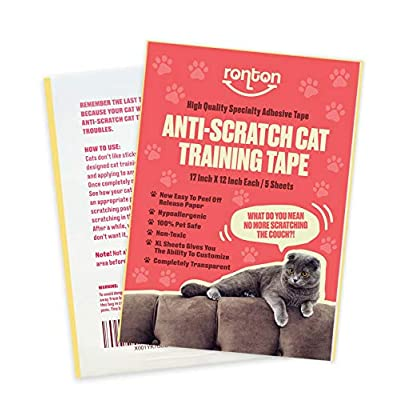 Cat scratching Ronton Cat Scratch Deterrent Tape – 12 in X 17 in X-Large Sheets | Anti Scratch Tape for Cats  [tag]