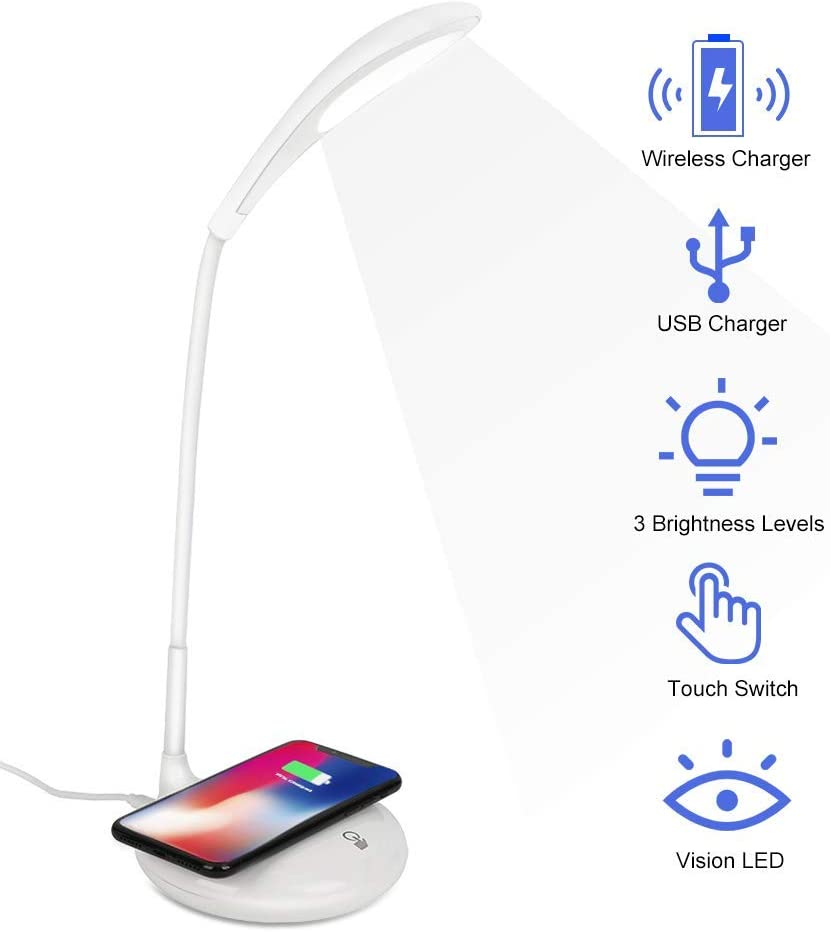 LED Desk Lamp with Wireless Charger, Rechargeable Eye-Caring Table Lamps, 3 Brightness Level Dimmable Table Lights, Wireless Charging Desk Light Adjustable Gooseneck Touch Control Night Light for Kids