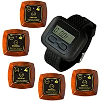 SINGCALL Wireless Calling System, Double-button Pager,5 Pagers and 1 Pc Watch Receiver