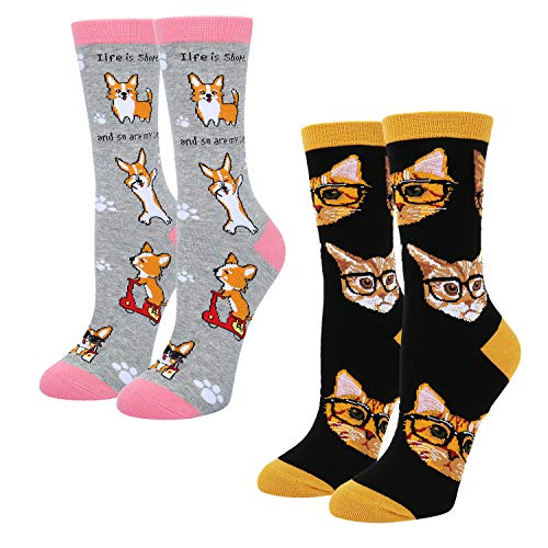 Women's Novelty Funny Cat Dog Crew Socks, Crazy Corgi and Cute Kitty in Glasses