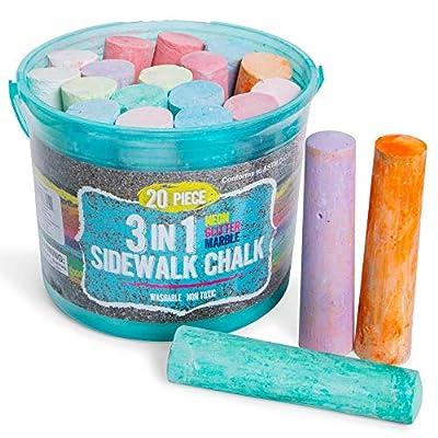Sidewalk Chalk Set Neon Glitter Marble (20 Pk) with Bucket - kids sidewalk chalk for Outdoor Street Art and Driveway Fun, Washable Driveway Street Chalk for Kids, Side walk Chalk for Toddlers: Toys & Games