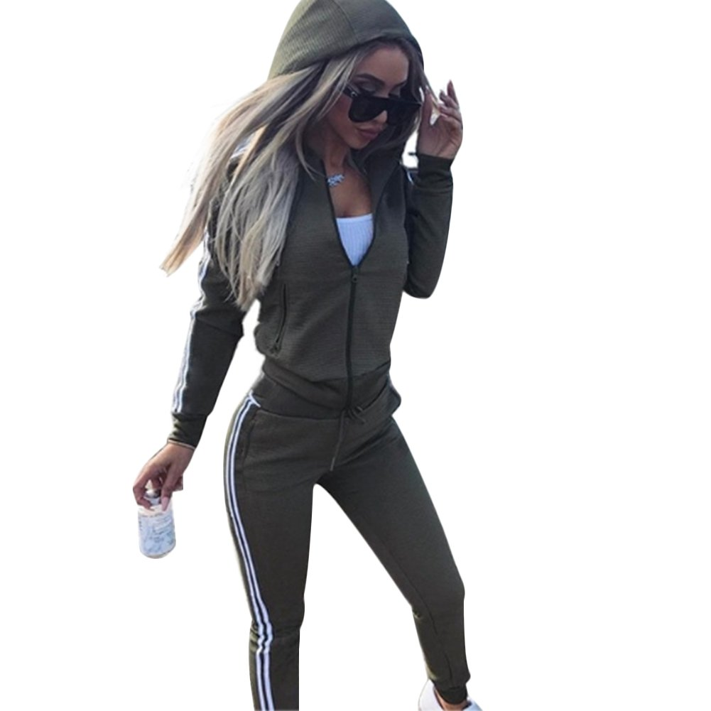 Cutecc Casual 2 Pieces Athletic Outfits Zip up Hooded Jacket and Long Sweatpants Sportswear Tracksuit Set (S/US 4-6)