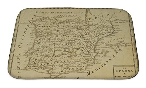 Gear New No Slip Microfiber Memory Foam Spain & Portugal Old Map Bath Rug Mat, 24'' X 17'' by Gear New