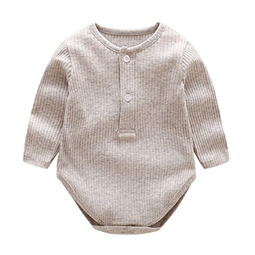 HZYBABY Baby Girl Boy Comfort Cotton Long-Sleeve Romper Ruffled Bodysuits for Newborn and -