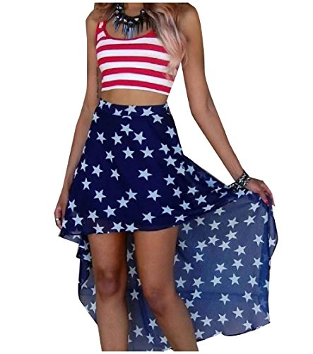 Comfy-Women Sleeveless American Flag Stripes Patriotic Skirt Outfit Blue M