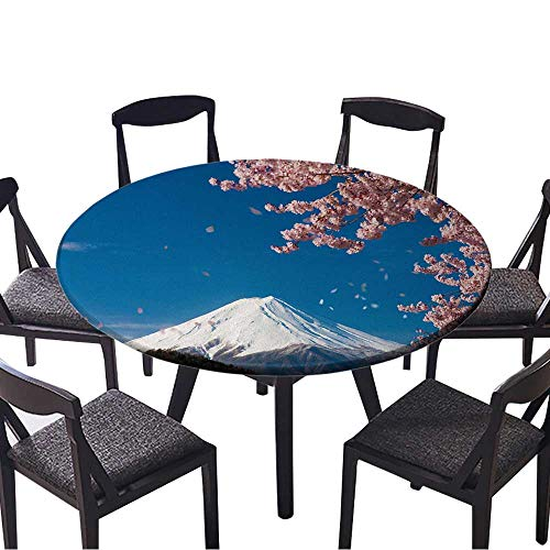 Luxury Round Table Cloth for Home use Mount Fuji,Cherry Tree for Buffet Table, Holiday Dinner 50