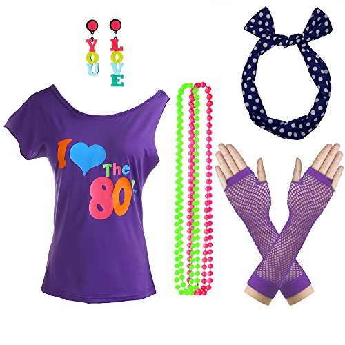 Women's 80's Off Shoulder T Shirt 1980's Theme Party Costume (Purple, S/M) -
