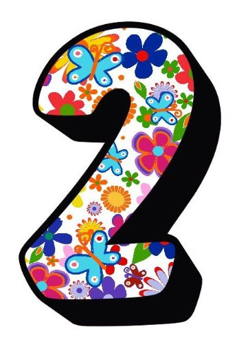 Flowers And Butterfly Number 2 Sticker For Mailbox / House Number / Trash Can / Wheelie Bin - Choose Number