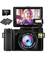 $99 » Digital Camera Vlogging Camera 2.7K 30MP Ultra HD Camera Compact Camera 4X Digital Zoom Retractable Flashlight YouTube Camera with 3.0 Inch Flip Screen with 32GB Micro SD Card and 2 Batteries
