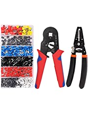 Ferrule Crimping Tool Kit, AWG23-7 Wire Terminal Block Crimping Plier with Wire Cutter Stripper and 1200PCS Ferrules Connectors