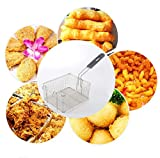 Stainless Steel Square Fry Basket with Rubber