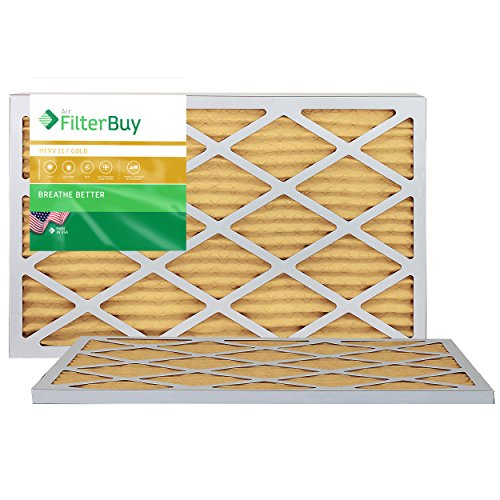 FilterBuy 17x20x1 MERV 11 Pleated AC Furnace Air Filter, (Pack of 2 Filters), 17x20x1 – Gold