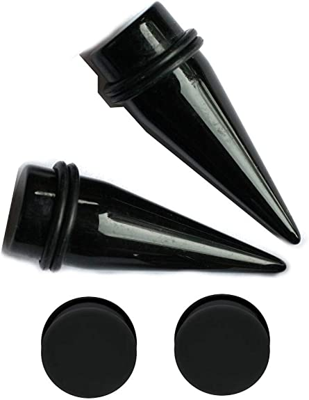 Zaya Body Jewelry Pair 7//16 11mm Black Star Clear Tapers and 316L Steel Tunnels Ear Stretching Kit gauges Gauging