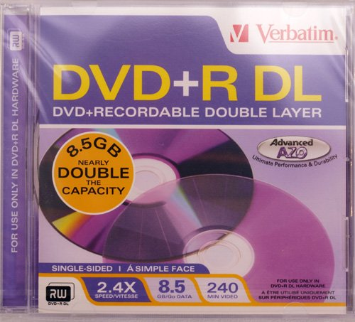 DVD+R, Double Layer, 2.4x, 8.5GB, Jewel Case  Category: CD a