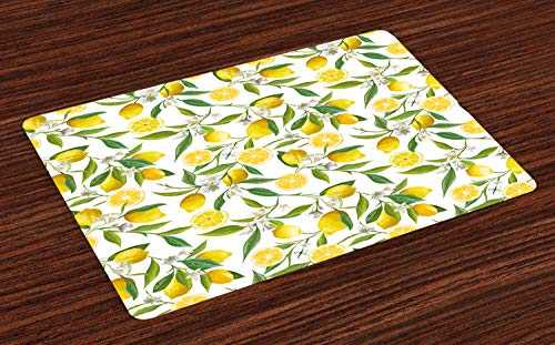 Ambesonne Nature Place Mats Set of 4, Exotic Lemon Tree Branches Yummy Delicious Kitchen Gardening Design, Washable Fabric Placemats for Dining Room Kitchen Table Decor, Fern Green Yellow White