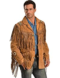 Men's Fringed Suede Leather Coat Tall - 758-67