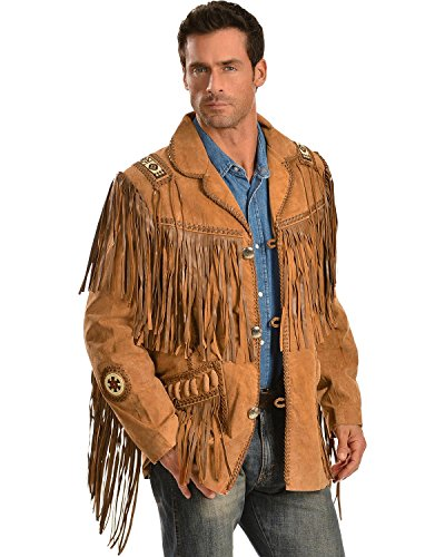 Scully Men's Fringed Suede Leather Coat Tall Buck Tan 46 R
