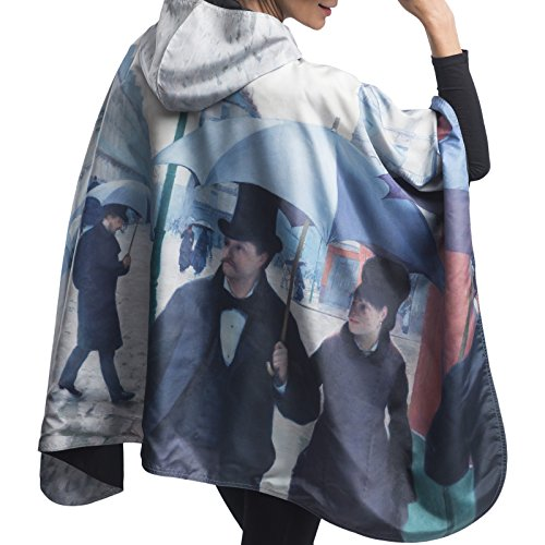 RainCaper Rain Poncho for Women - Reversible Waterproof Hooded Cape in Gorgeous Ultrasoft Colors (Museum- Caillebotte Paris Street; Rainy Day)