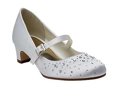 1f00554faa0 Else Rainbow Club Kids Bridesmaid Communion Shoes Girls - Cherry - White  Satin