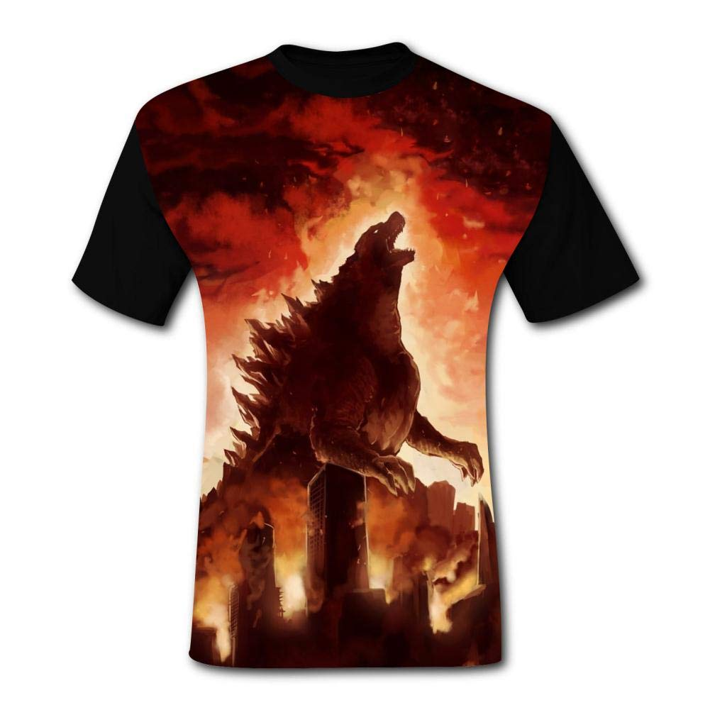 BEKAI Mens Hipster Tee Red G-od-Zill-a Printed T Shirts Outdoor Sport Short Sleeve Fast Drying