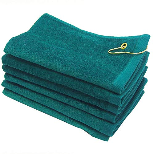 SHOPINUSA Set of 12, Terry Velour Golf Towels Corner Grommet & Hook, 11x18 Fingertip Towels, 100% Cotton Sport Towels (12, Green)