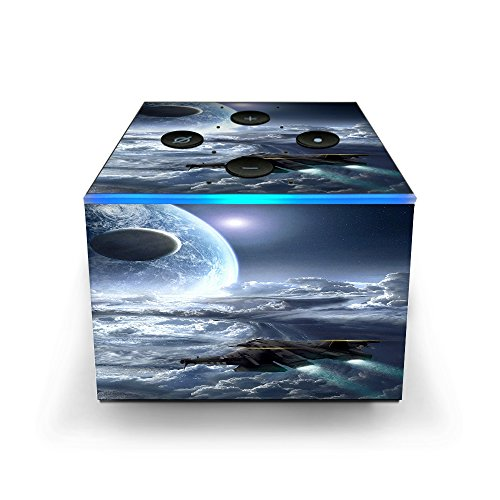 Skin Decal Vinyl Wrap for Amazon Fire TV Cube & Remote Alexa Skins Stickers Cover/Galactic Spaceship Star - Starship Galactic