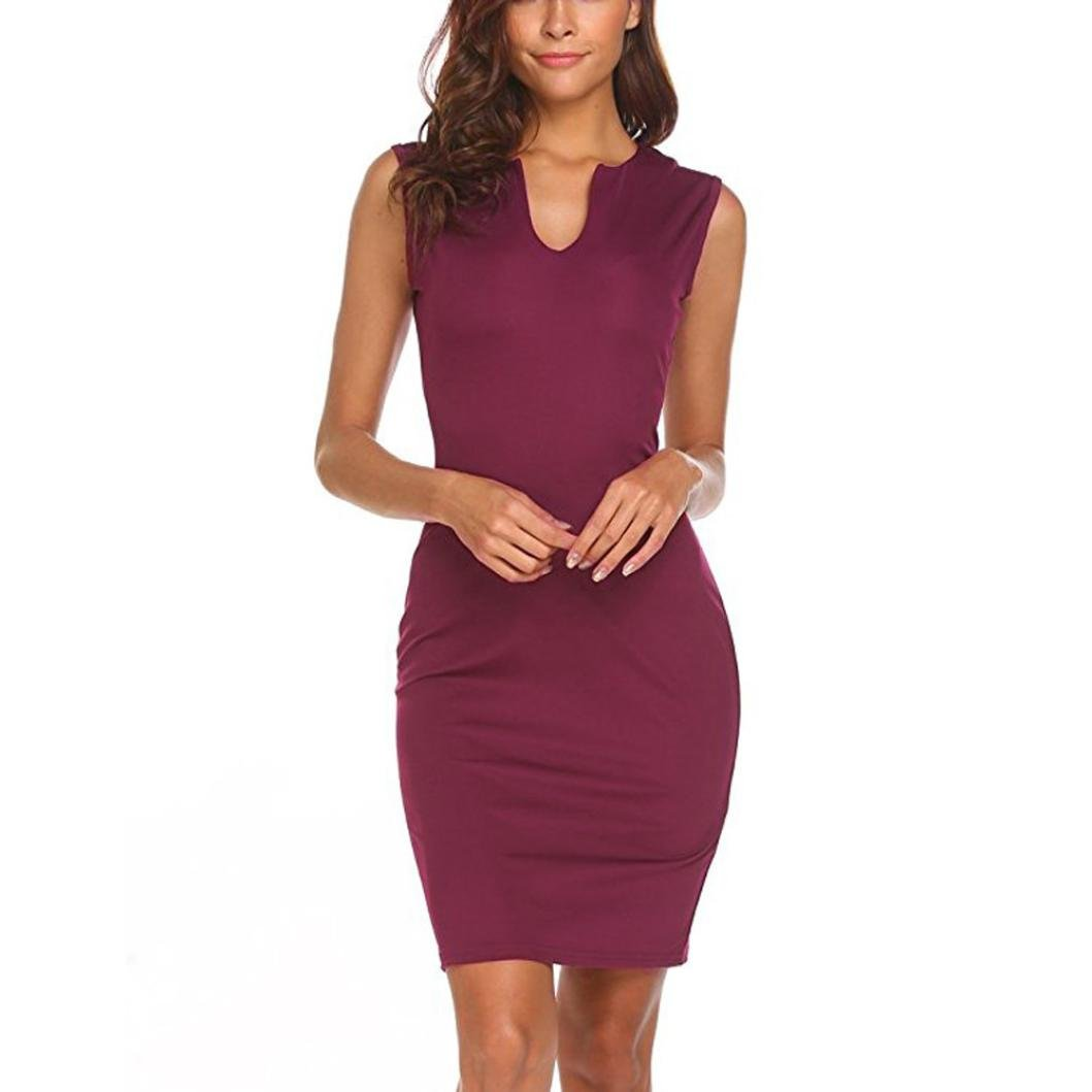 Women Sleeveless Wrap Slim Skirt, Balakie Ladies Work Office Sleeveless V Neck Bodycon Pencil Dress (M, Wine) by Balakie-Dress