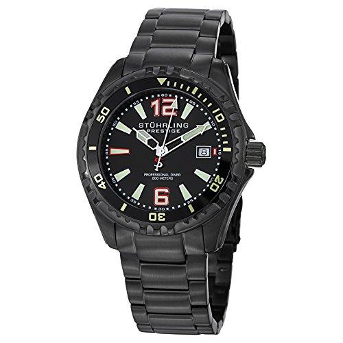 Stuhrling Original Men's 382.335B1 Prestige Swiss Regatta Captain Quartz Diver Date Black Dial ()