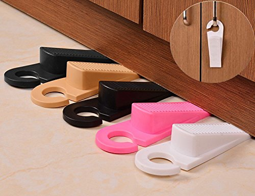 Decorative Rubber Door Stopper 5 Pack, Door Stop Works on All Floor Surfaces,Non Scratching Strong Grip, Hook Hang to Doorknob,Wedge Doorstop Non-Skid Rubber Base Grip Review