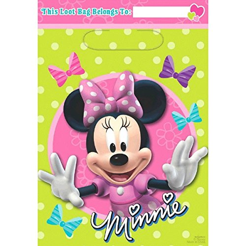 Disney Minnie Mouse Birthday Party Toys and Prize Giveaway Folded Favour Loot Bags (8 Pack), Lime Green/Pink, 9