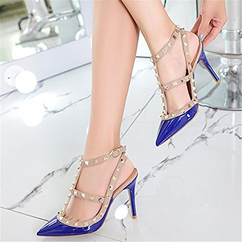 Sandals High nude Leather strap Slingback Womens Navy Strappy Shoes Blue Pan Pumps Pointed Studded Stilettos Caitlin Heel Toe 0OqxU