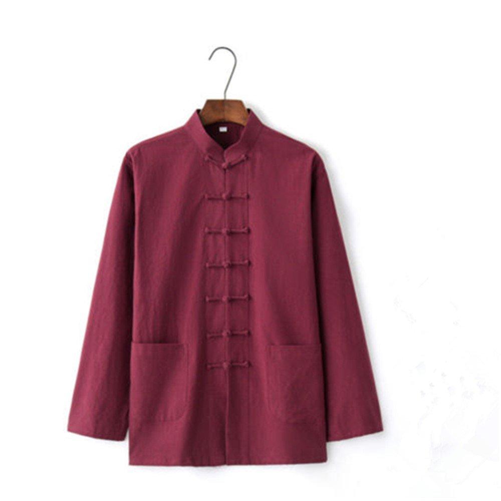 3713f6ec73b2 Amazon.com: Men's Cotton Linen Coat Shirt Jackets Chinese Kung Fu  Traditional Casual Tops: Clothing