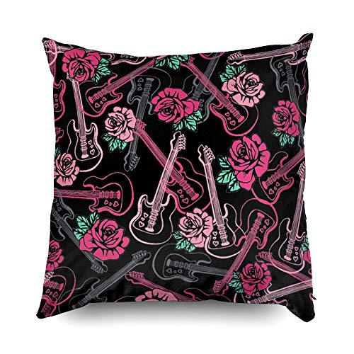 llow Covers Pillowcases 16X16 Inch Guitars N Roses Repeat Tile Wallpaper Decorative Throw Pillow Cover,Pillow Cases Cushion Cover for Home Sofa Bedding ()
