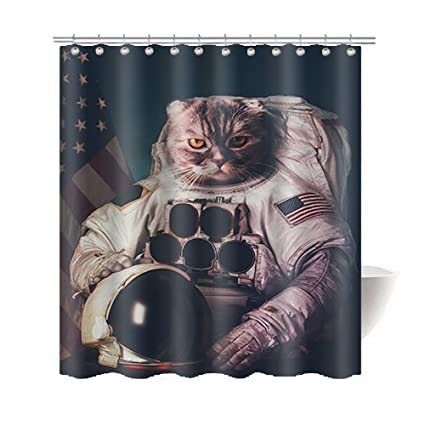 Gwein Funny Cat Astronaut Bathroom Home Decor Shower Curtain Polyester Fabric Mildew Proof Waterproof Cloth