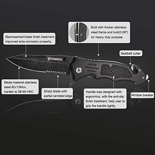 "Yicton Spring Assisted Pocket Knife German 8Cr13Mov Tactical Folding Seatbelt Cut 3-1/2"" Edge Stonewashed Blade Heavy Duty Stainless Steel Survival Outdoor Climbing Camping Hunting"