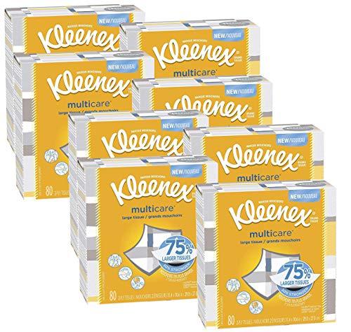 Kleenex Multicare Facial Tissues, 80 Tissues per Box, 8 Packs, 640 Count