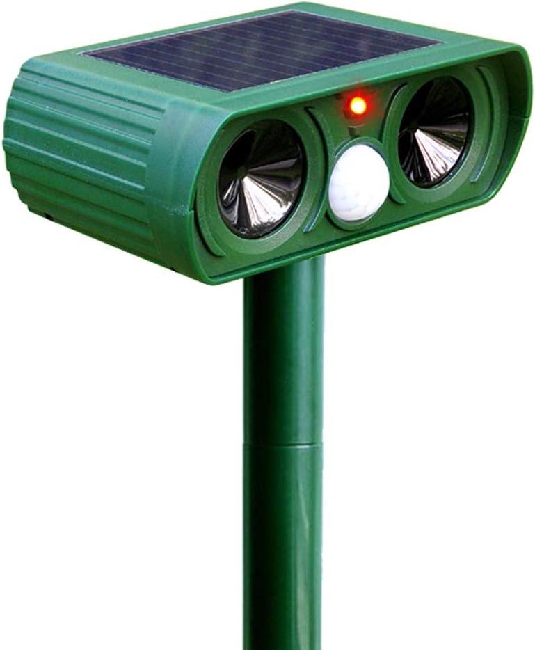 Cat Fox Repellent, Ultrasonic Animal Repeller,Solar Waterproof Squirrels Deer Birds Dog Scarer Deterrent with 2 Ultrasonic Speakers,PIR Motion Sensor and LED Light,For Garden Yard Field Farm (green)