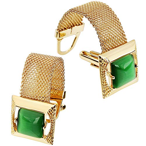 HAWSON Mens Cufflinks with Chain - Stone and Shiny Gold Tone Shirt Accessories - Party Gifts for Young Men (Cats Eye)