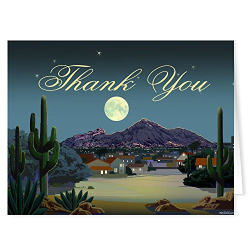 Arizona Thank You Note Cards - 10 Boxed Cards & Envelopes - Camelback Mountain