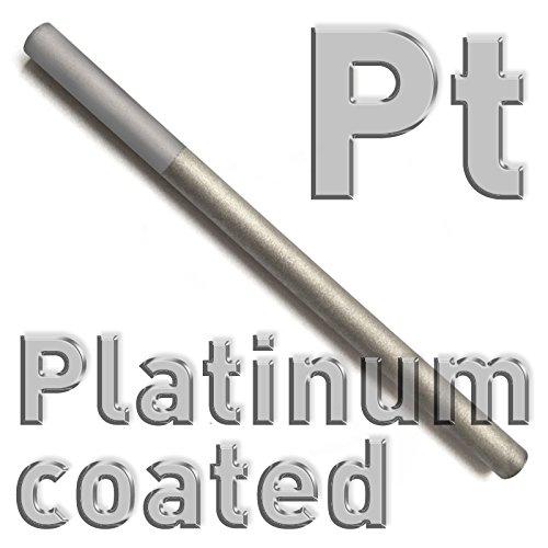 Platinum plated titanium round Anode for Electroplating, Pencil Electrode Diameter 6x 100mm, Gilding, Polymet Galvanotech
