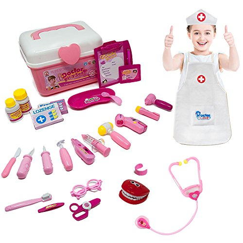 Doctor Kit Set Dentist Playset with Nurse Coat for Kids, Pretend Play Toy Medical Set for 3 Years Old Girls-Promote Fine Motor Skills & Educational Learning, Boost Imagination & (Costume Role Playset)