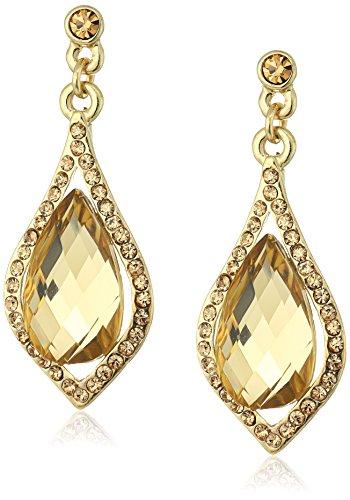 ne Light Brown Caged Briolette Drop Earrings ()