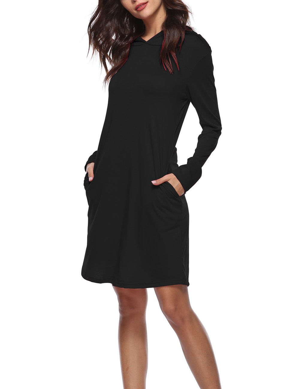 Women Pullover Long Sleeve Keen Length Slim Sweatshirt Causal Hoodie Dress with Pocket for Sport for Spring Summer Autumn (13 Black S)