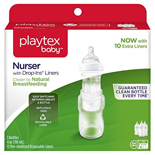 Playtex Baby Nurser Bottles with Drop-Ins Disposable Liners Closer to Breastfeeding, 4 Ounce - 3 Pack